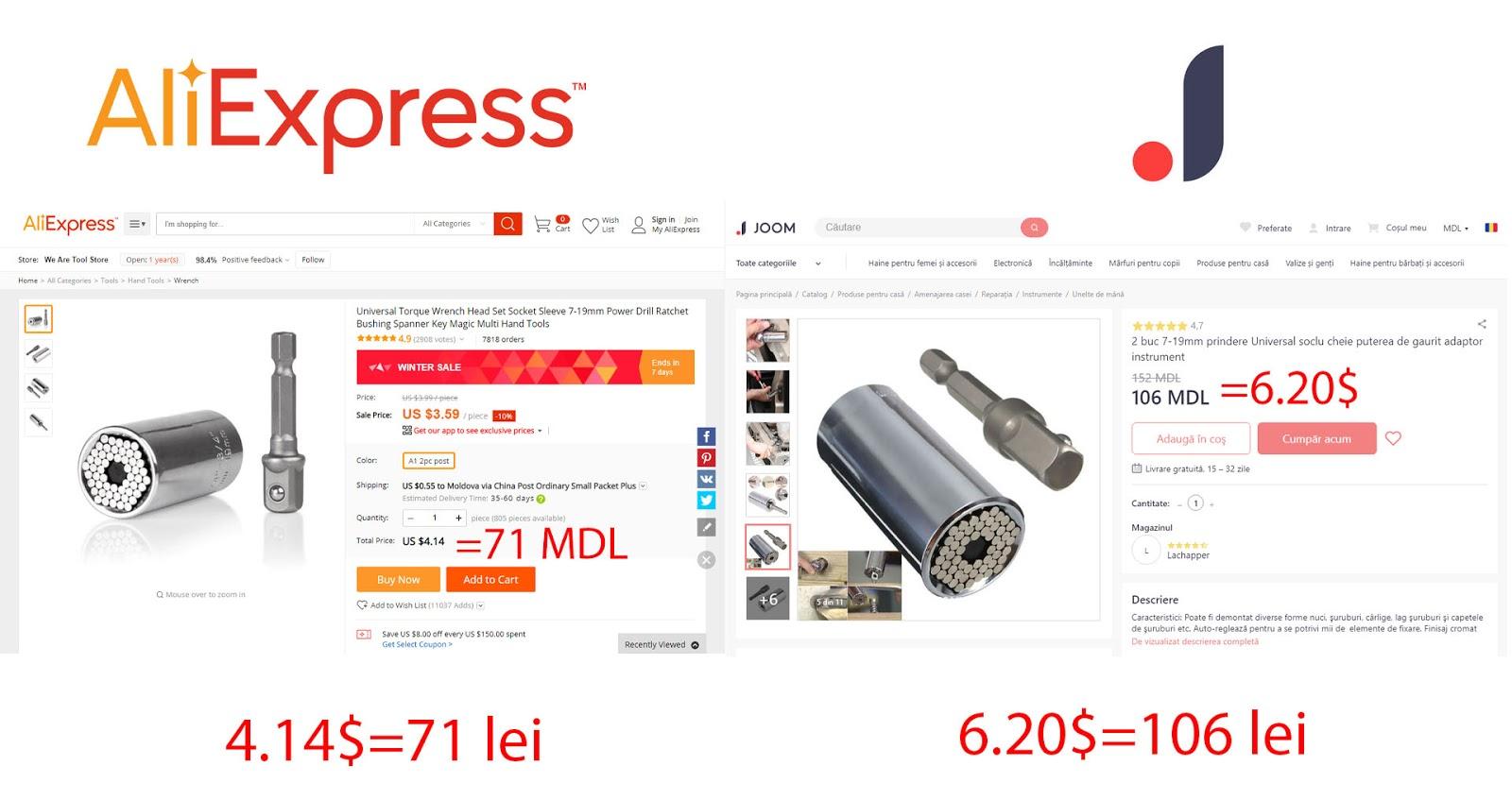 Joom în Moldova sau Aliexpress Aliexpress sau Joom preț calitate