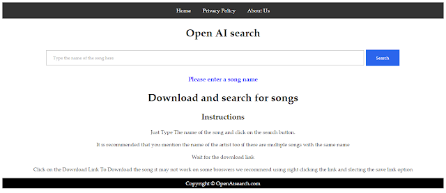 Download Any Songs in One Search - AI Search Engine Bot From India