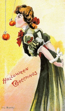 Snap Apple, Vintage Halloween Card
