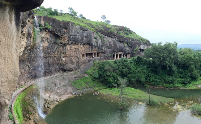 Xvlor Ellora Caves is Buddhist, Hindu and Jain complex stretching on 2 km cliff