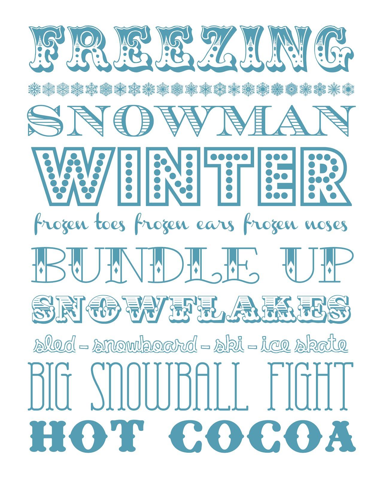 Funky Polkadot Giraffe: January Fun: Winter Subway Art Printable