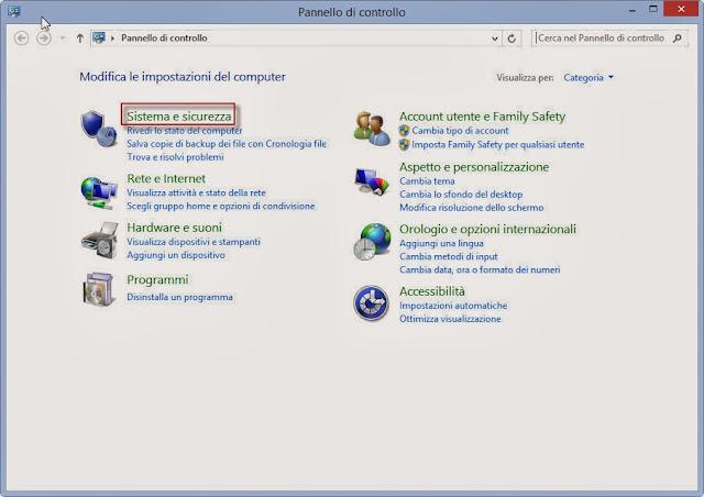 Sistema e sicurezza - Pannello di controllo - Windows 8.1