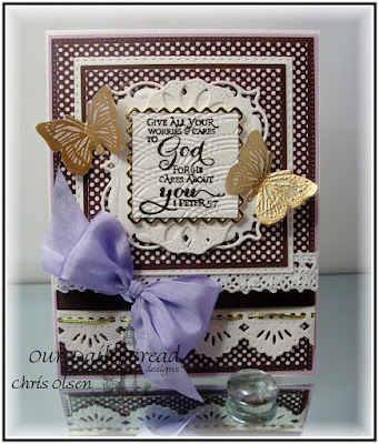 ODBD Stamps: Scripture Series 3, Trois Jolies Papillons ODBD Dies Used: Beautiful Borders, Doily, Trois Papillons, Squares, Double Stitched Squares, Layered Lacey Squares, Flourished Star Pattern ODBD Paper Used: Ephemera Essential Collections, designed by Chris Olsen