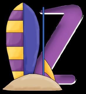 Abecedario Morado de Verano. Summer Purple Alphabet.