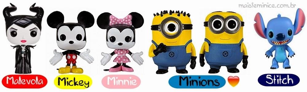 funkos Malevola, Mickey, Minnie, Minion's e Stitch