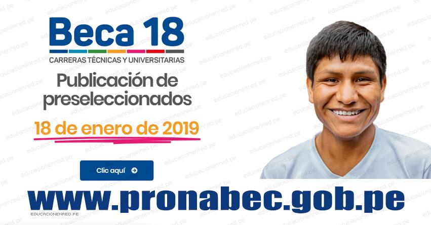 RESULTADOS BECA 2018: Preseleccionados del «Examen Nacional de Preselección» se publicará el 18 de Enero 2019 - www.pronabec.gob.pe