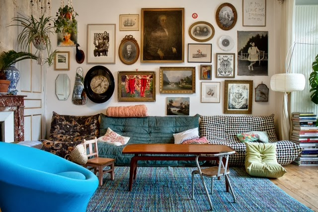 Eclectic Gallery Wall in Living Room