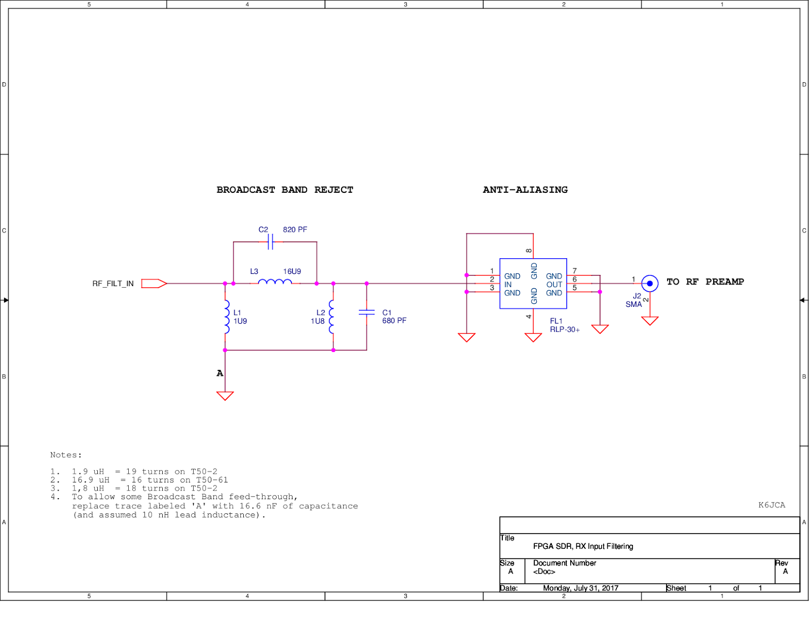 K6jca An Fpga Sdr Hf Transceiver Part 7 Schematics Rx And Tx Schematic Of The Rs232 Adapter Click To Enlarge On Image