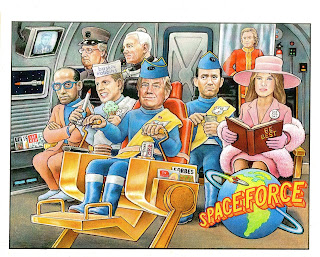 Artist; Artwork; Donald Trump; Melania Trump; Small Scale World; smallscaleworld.blogspot.com; Space Farce; Space Force; T2; Thunderbird Two; Thunderbirds; Trump Donald; Trumpton; Trumpundbrexit; US Cabinet