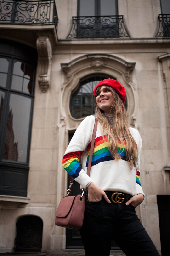 Outfit: rainbow sweater, gucci belt, flared trousers