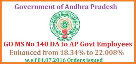 GO MS No 140 DA/Dearness Allowances to AP Employees and Teachers Enhanced from 18.34% to 22.008% w.e.f 01.07.2016 ALLOWANCES – Dearness Allowance – Dearness Allowance to the State Government Employees from 1st July 2016 – Sanctioned – Orders – Issued.Government hereby order the revision of Dearness Allowance (DA) sanctioned in the Government Orders 8th read above to the employees of Government of Andhra Pradesh drawing pay scales in the A.P. Revised Pay  Scales – 2015, from 18.34% of the basic pay to 22.008% of basic pay from 1st July, 2016.