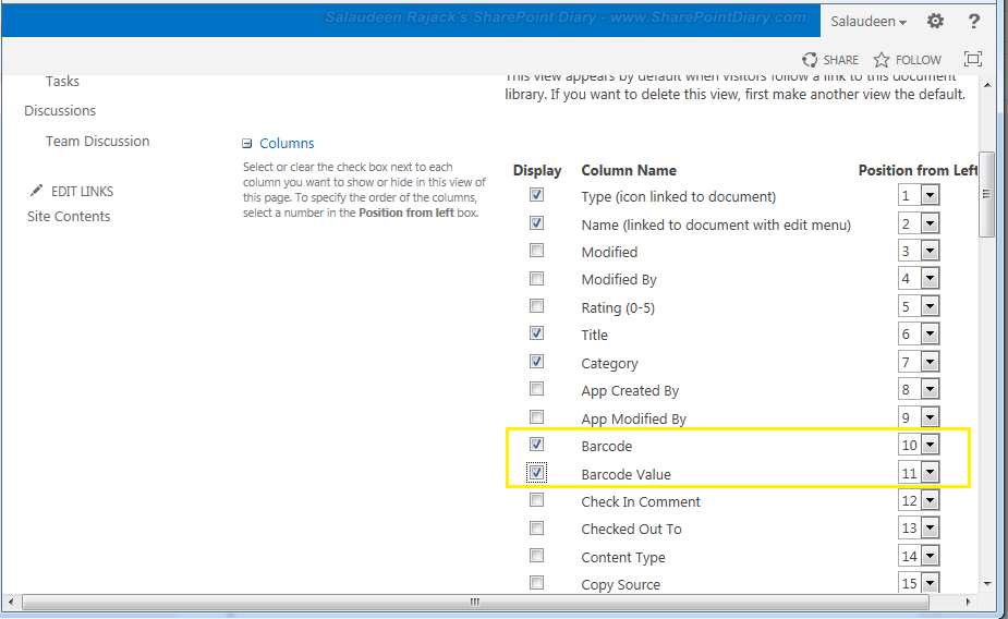 barcode in sharepoint 2013