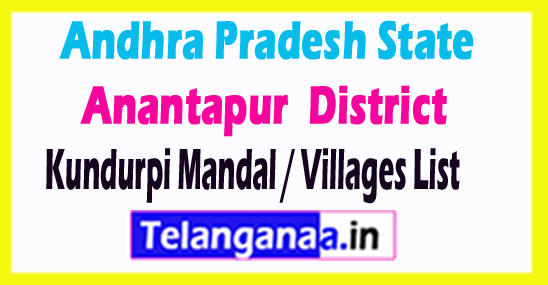 Kundurpi Mandal Villages Codes Anantapur District Andhra Pradesh State India