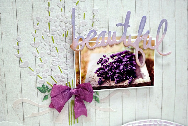 Beautiful Lavender Breeze Mixed Media Scrapbook Layout by Dana Tatar for FabScraps