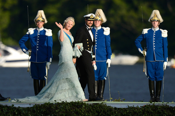 Princess Charlene of Monaco, Prince Edward, Earl of Wessex and Sophie, Countess of Wessex depart for the banquet after the wedding ceremony of Princess Madeleine of Sweden and Christopher O'Neill.
