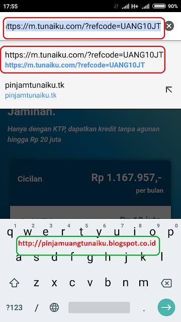 Langkah 1 pengajuan pinjaman tunaiku via link promo tunaiku https://m.tunaiku.com/?refcode=UANG10JT
