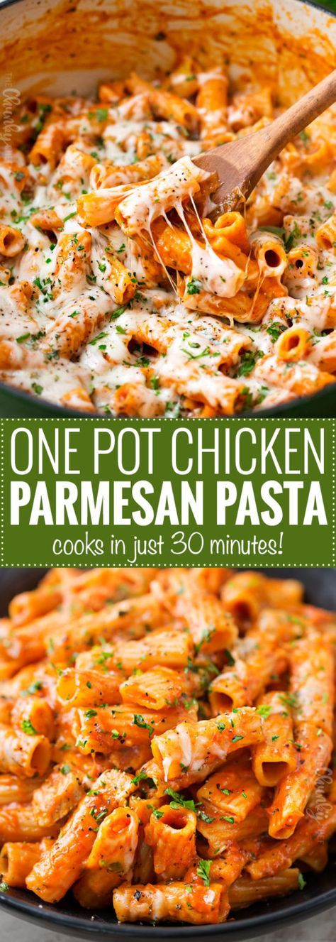 ONE POT CHICKEN PARMESAN PASTA (Ready in 30 Minutes!)