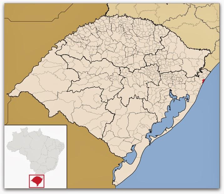 Cidade de Capão da Canoa, no mapa do Rio Grande do Sul