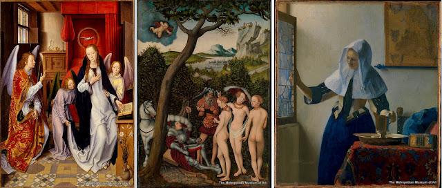 """Nova York - Museu Metropolitan - """"Anunciação"""", de Brueghel, """"O Julgamento de Páris"""", de Lucas Cranach, o Velho, e """"Jovem com Jarra d'Água"""", de Vermeer"""