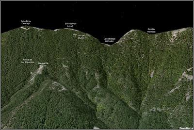 Imagen generada con Google Earth de la parte más alta de la Sierra De Valdemeca