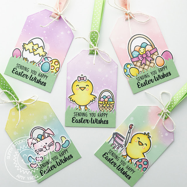 Sunny Studio Stamps: A Good Egg and Traditional Tag Topper Easter Gift Tags by Amy Yang