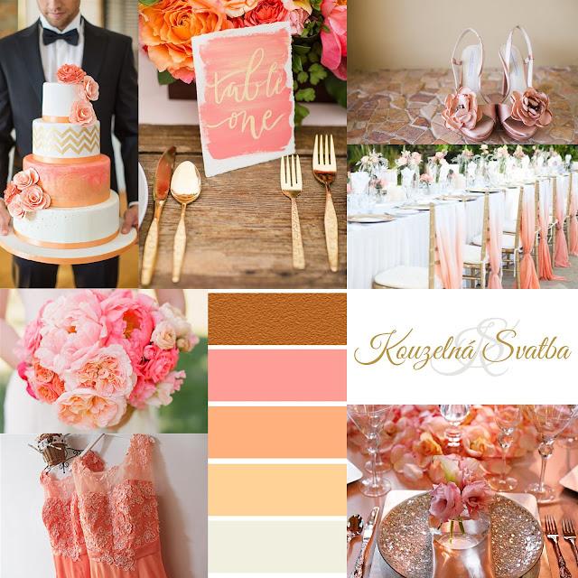 Peach Echo - broskvovo lososová svatební výzdoba