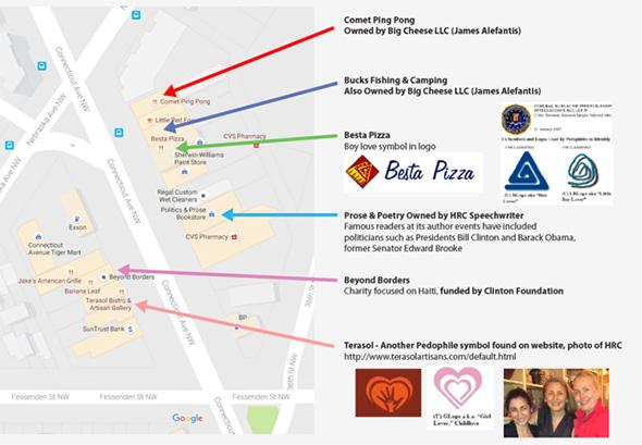 Mapa de washington con pizzarías aledañas a comet ping pong