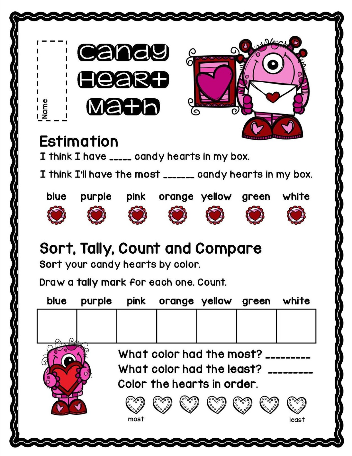 Lory S 2nd Grade Skills Candy Heart Math