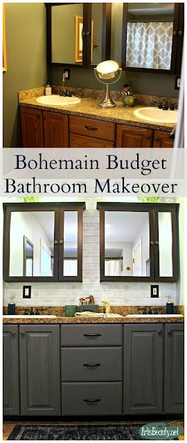 boho chic easy diy bohemian budget cheap bathroom makeover