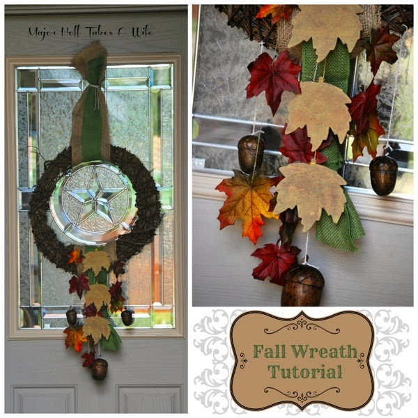 Fall Burlap and wooden leaves wreath
