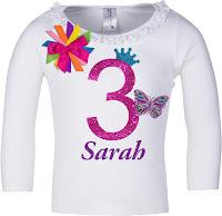 3rd Birthday Butterfly Shirt