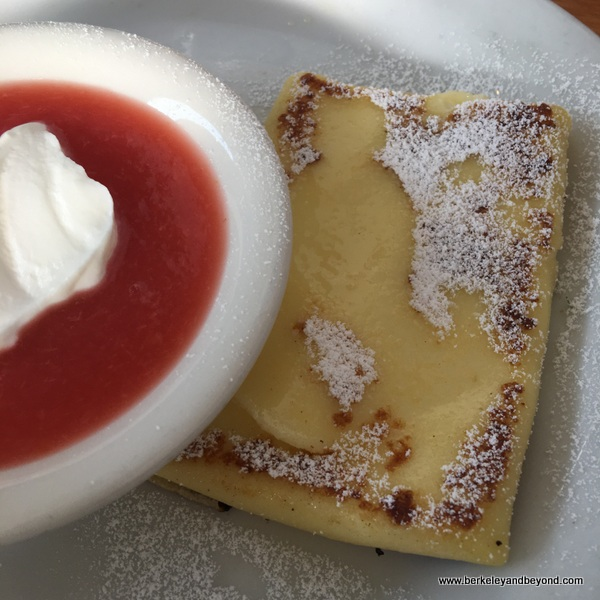 cheese blintz with pluot sauce at Homemade Cafe in Berkeley, California
