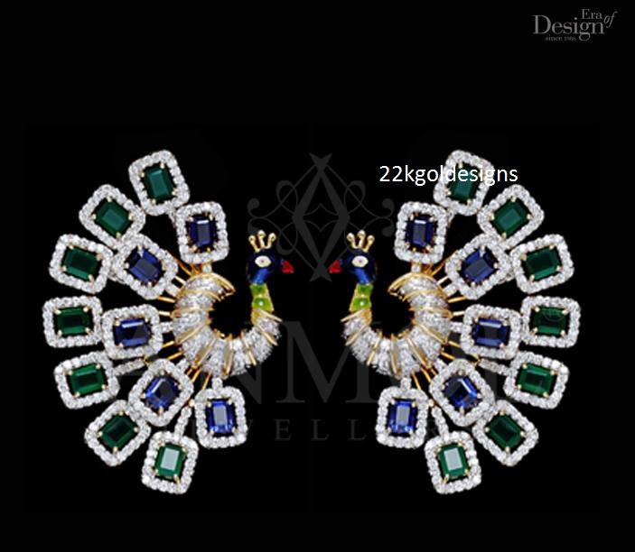 anmol Peacock design Gemstone Earrings