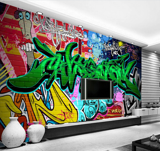 Graffiti Wall Murals Green Text Brick Wall Youth Kids
