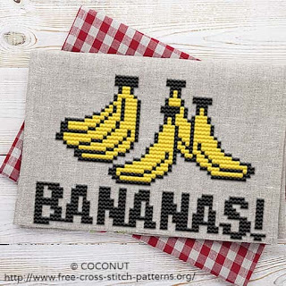 BANANA (3), FREE AND EASY PRINTABLE CROSS STITCH PATTERN
