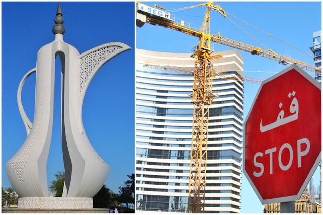 Estatua Tetera - Senal Stop y grua en West Bay en Doha, Qatar
