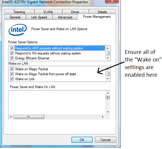 Enable WoL (Wake on Lan) without spurious Wakes