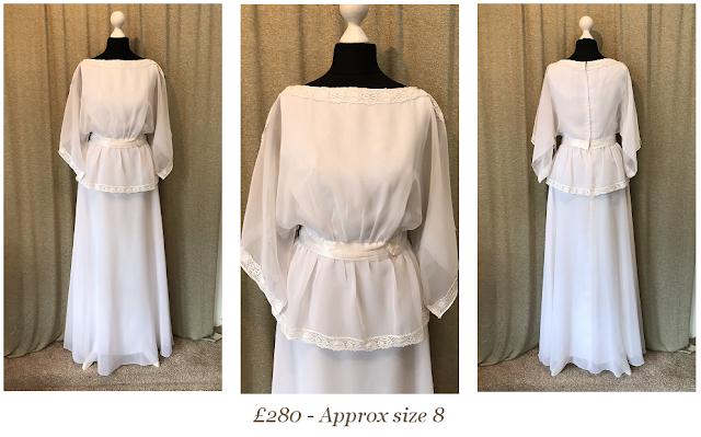 1970s angel cape sleeve boho bohemian vintage wedding dress available from vintage lane bridal boutique bolton manchester