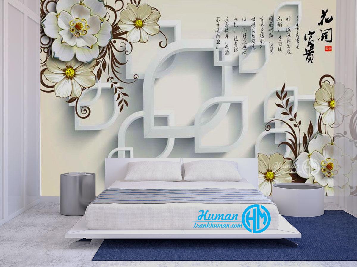 Tranh dán tường 3d hoa phòng ngủ xinh