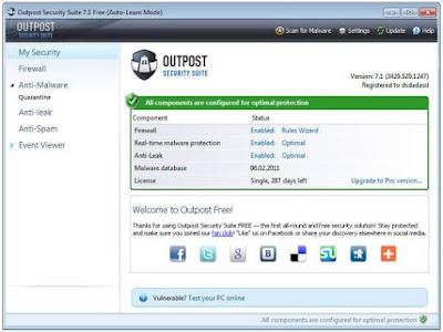 برنامج Outpost Security Suite FREE برنامج يقوم بحمايتك اثناء التصفح وايضاً الايميل بالاضافة الي جدار ناري قوي