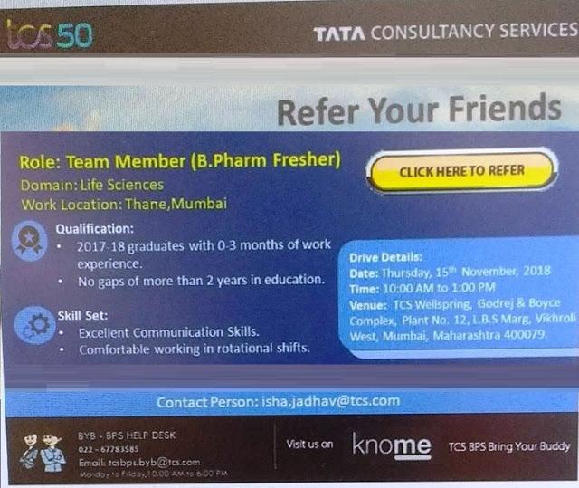 TCS Walk-In Drive For B.Pharm Freshers at 15 November