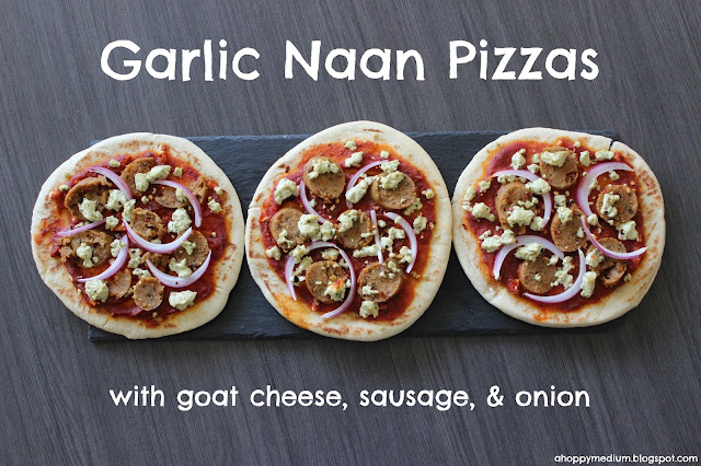 Vegetarian Garlic Naan Pizzas with goat cheese, sausage, & onion | A Hoppy Medium