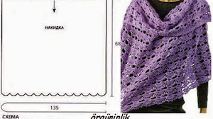 Chal pashmina al crochet con punto de abanicos