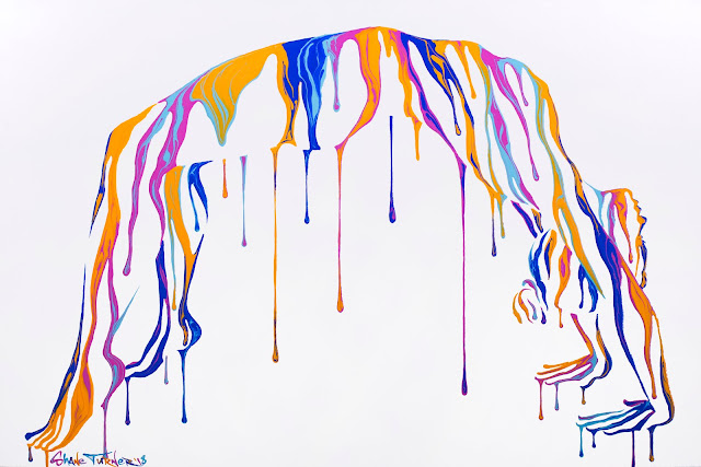 Image of an invisible woman in dripping rainbow paint doing a bridge pose. Yoga themed surreal painting.