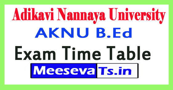 Adikavi Nannaya University AKNU B.Ed Exam Time Table 2017