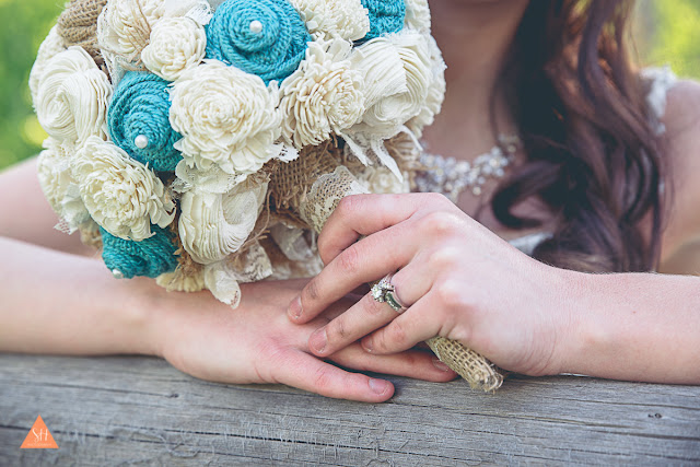 jade / light turquoise bridal bouquet