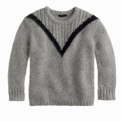 J Crew grey and black ribbed V sweater