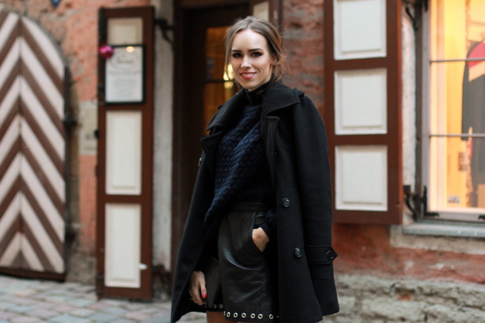 black peacoat leather skirt fall outfit