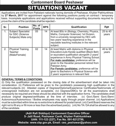 Jobs in Cantonment Board Peshawar