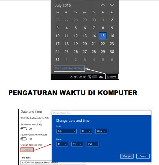 gambar cara setting tanggal dan waktu dikomputer dapodik